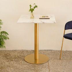 가구느낌 마블링대리석 600사각 무광골드3인치 테이블