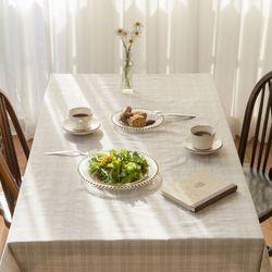 라느 오트밀 체크 테이블 덮개 식탁보 6인용 135x210cm