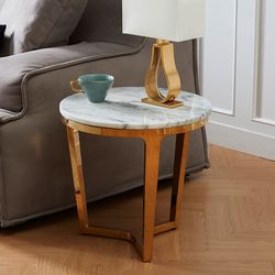 천연대리석 거실 사이드 원형 테이블