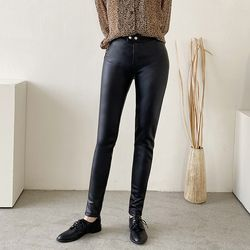 Black Faux Leggings Pants - 기모안감