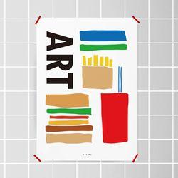 햄버거 이즈 아트 M 유니크 디자인 포스터 A3(중형)