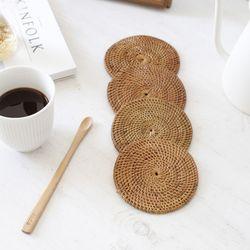 심플 라탄 원형 컵받침 1p