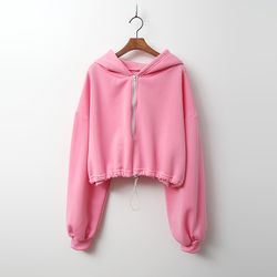Warm Hood Crop Sweatshirt - 기모안감