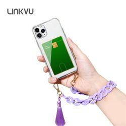 Linkvu 카드업 파스텔 테슬 체인스트랩 아이폰 케이스
