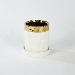 원형라운드화분 H10cm 화이트&골드