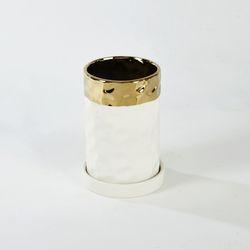 원형라운드화분 H15cm 화이트&골드