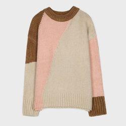 오버핏 컬러블록 스웨터 MIWKAAV47T