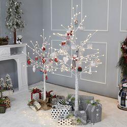 크리스마스 자작나무트리 LED 데코트리 화이트레드 1.6M 풀세트