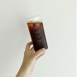 홈카페 사각 내열유리컵 (레터링)