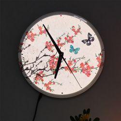 nf487-LED시계액자25R아름다운민화벚꽃과나비