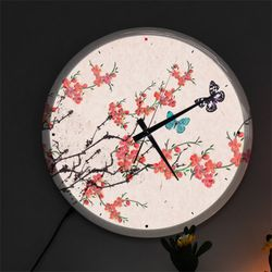 nf488-LED시계액자35R아름다운민화벚꽃과나비