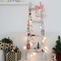 크리스마스트리 벽트리 자작사다리트리 핑크 풀세트