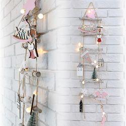 크리스마스트리 벽트리 내츄럴6단사다리 핑크 풀세트