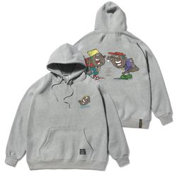 CARTOON OVERSIZED HEAVY SWEAT HOODIE GREY