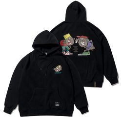 CARTOON OVERSIZED HEAVY SWEAT HOODIE BLACK