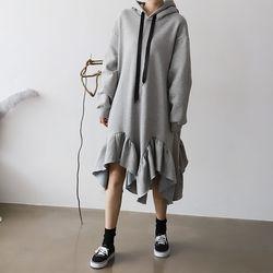 Gimo Frill Hoodie Dress - 안감기모