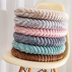 푹신한 극세사 메모리폼 겨울 양면 원형 털 방석 6color