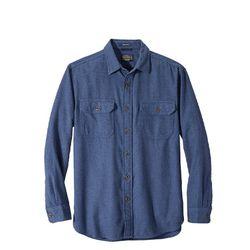 번사이드 플란넬 셔츠 블루
