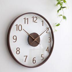 바나나 큰41cm거실 다크브라운 유리나무 무소음 인테리어시계
