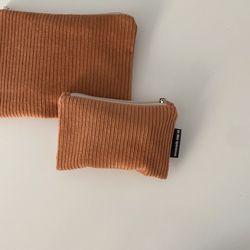 다크 오렌지 골덴 파우치(Dark orange corduroy pouch)-S