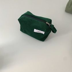 골덴 초록 네모 파우치(Corduroy green oblong pouch)