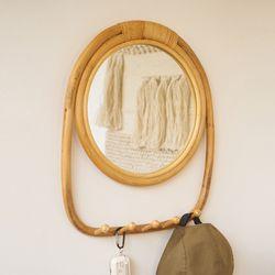 핸드메이드 라운드 후크 라탄 거울