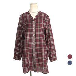 [네오쿠비카]빅사이즈 버튼 롤업 체크 셔츠 BRS570