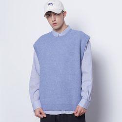 M17 CC round wool knit vest sky