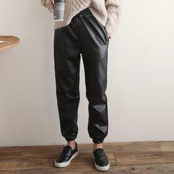 Faux Leather Fomal Jogger Pants