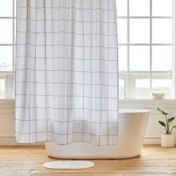 그리드 욕실 샤워커튼 디자인 패브릭 방수 가림막 커텐