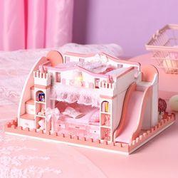 [adico]DIY 미니어처 하우스 - 핑크 2층 침대