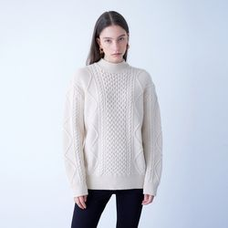 TURTLENECK CABLE PULLOVER IVORY
