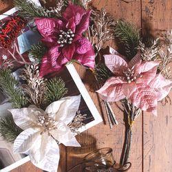 겨울꽃 포인세티아 크리스마스 조화 (3color)
