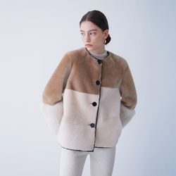 REAL HAIRY MIX MUSTANG JACKET BEIGE