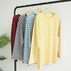 [원단대통령]긴팔 라운드넥 스트라이프 티셔츠 오버핏 단가라