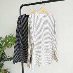 [원단대통령]오버핏 잔줄 단가라 스트라이프 긴팔 티셔츠