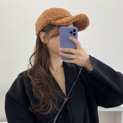 도톰 무지 뽀글이 볼캡 무스탕 겨울 모자