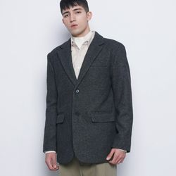 M35 wool single over jacket charcoal