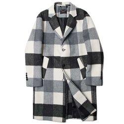 MAN winter 배색 체크 패턴 long coat CH1672175