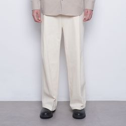 M48 half band wide cotton pants ivory