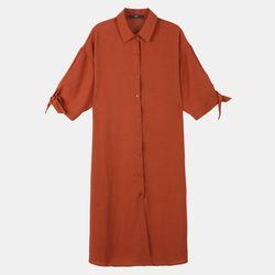 소매리본 셔츠형 원피스 DAOW18T01