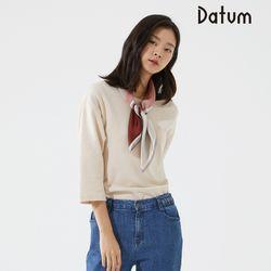 쉬폰 배색 티셔츠(4Color) DALA19W03