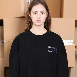온온온 피치기모 자수 스웨트셔츠-블랙