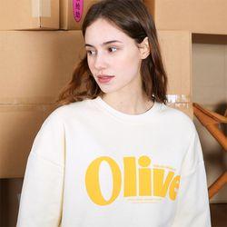올리브 타이포그라피 스웨트셔츠-크림