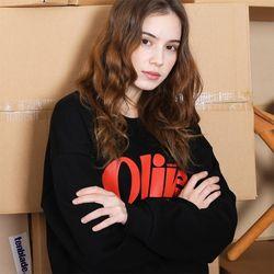 올리브 타이포그라피 스웨트셔츠-블랙