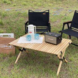캠핑덕 접이식 우드 롤테이블
