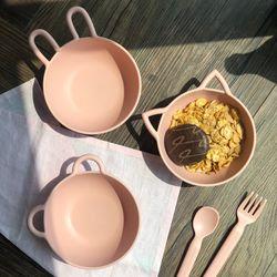 핑크 래빗 동물농장 시리얼 볼 디저트 간식 그릇