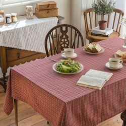 앙제르 테이블 체크 식탁보 2인용 135x135cm