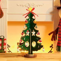 초록 별방울 크리스마스 원목 트리(35cm)