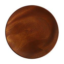 마호가니 우드 원형접시 나무접시 체스넛L 23cm